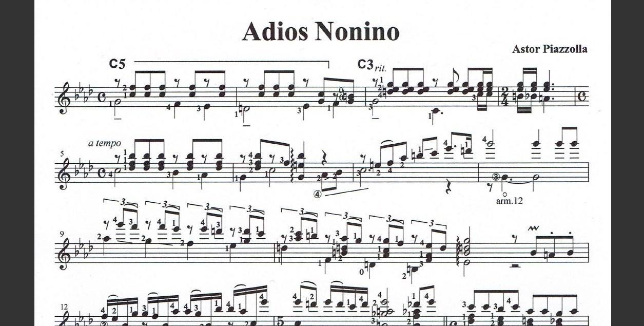 タンゴギターソロ『アディオス・ノニーノ』